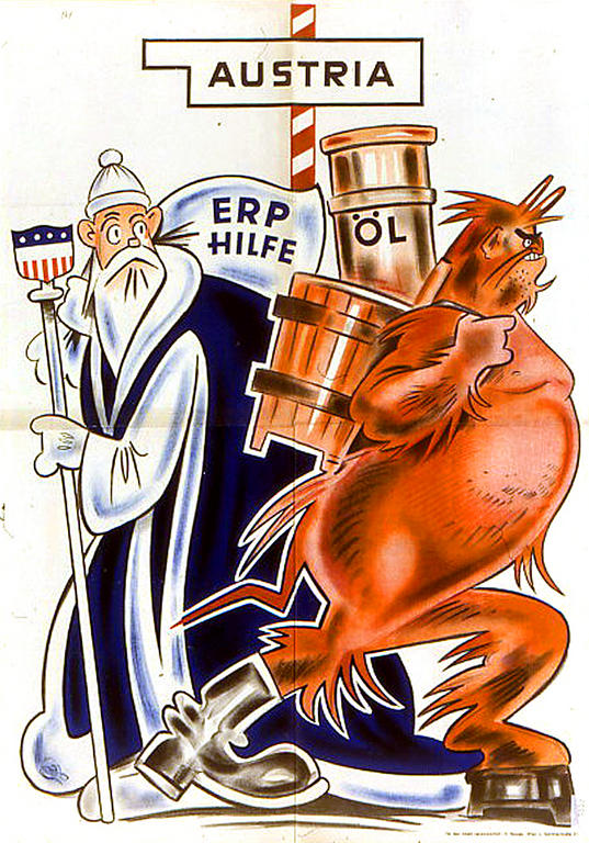 Cartoon by the Communist Party of Austria (KPÖ) on the effects of the Marshall Plan (1952)