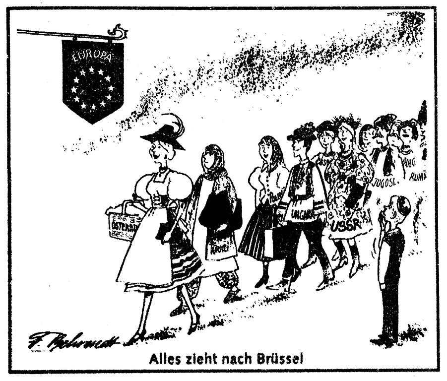 Cartoon by Behrendt on Austria's application for accession to the European Communities (15 July 1989)
