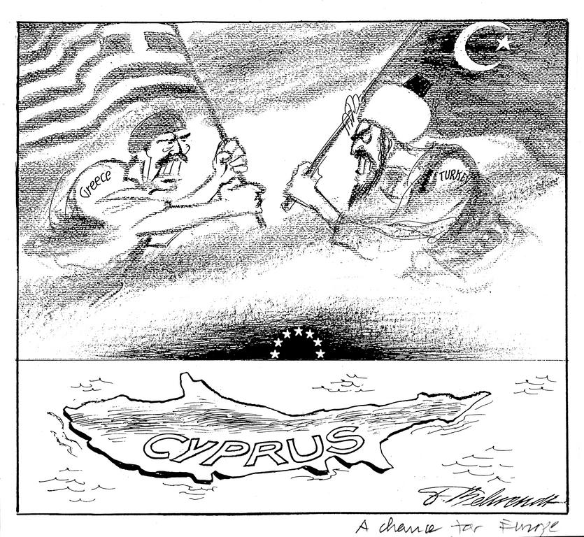 Cartoon by Behrendt on the Cyprus question