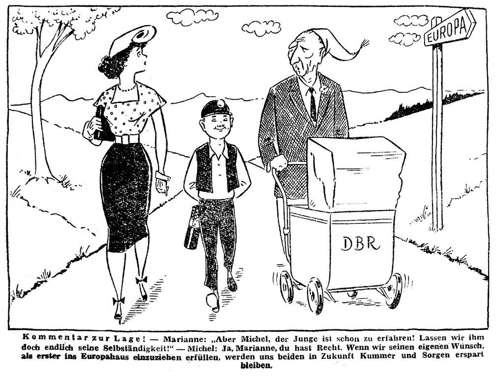 Cartoon on the Saar's political future (1 August 1952)