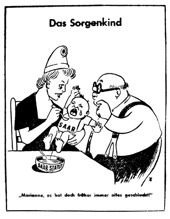 Cartoon on the referendum on the Saar Statute (13 August 1955)