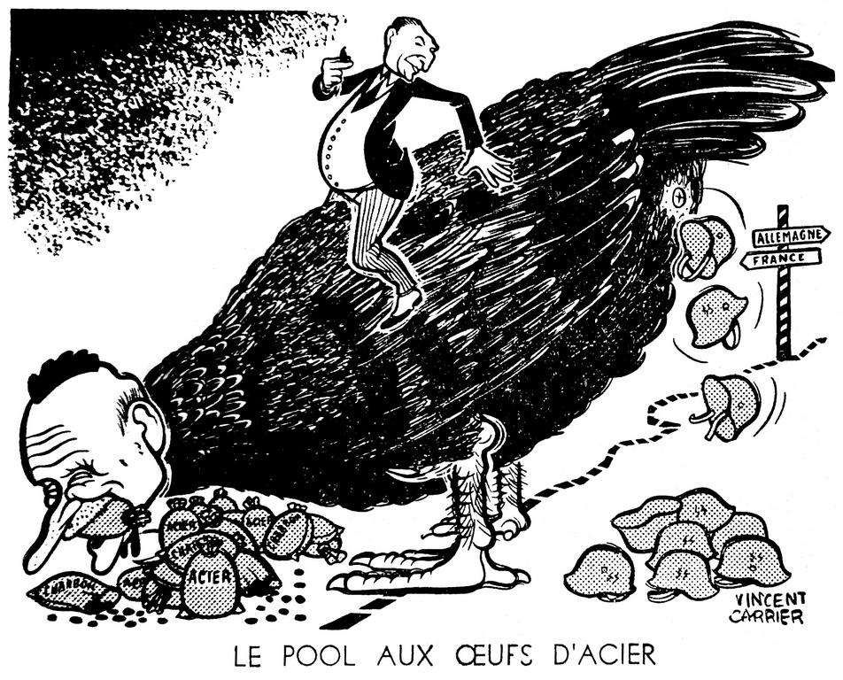 Cartoon by Carrier on the risks involved in the Schuman Plan (5 December 1951)