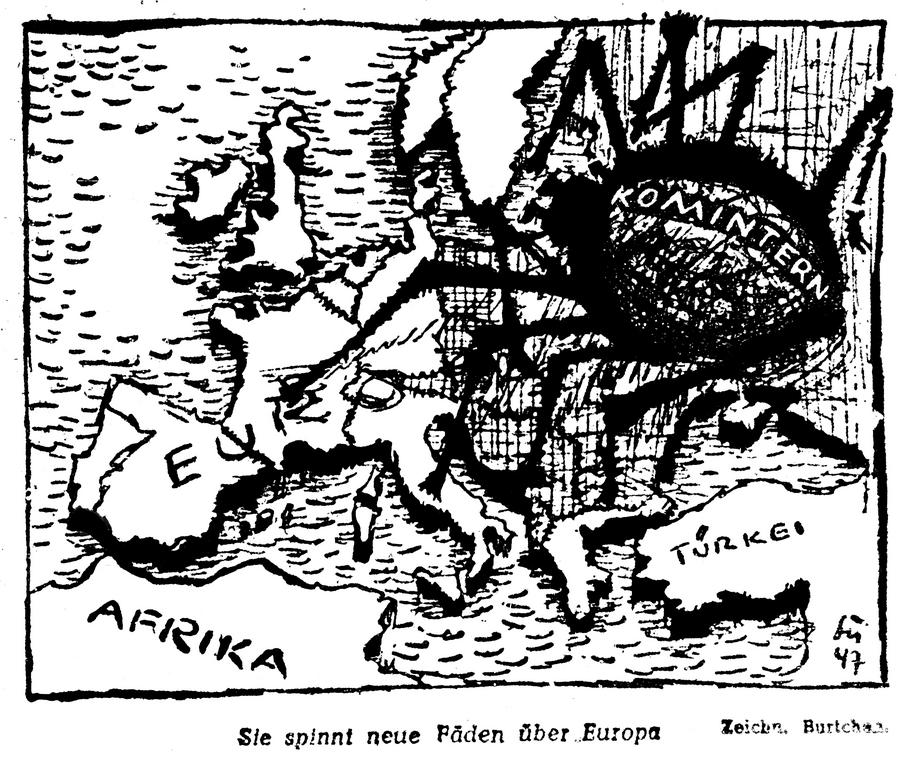 Cartoon on the dangers of Soviet expansionism in Europe (10 October 1947)