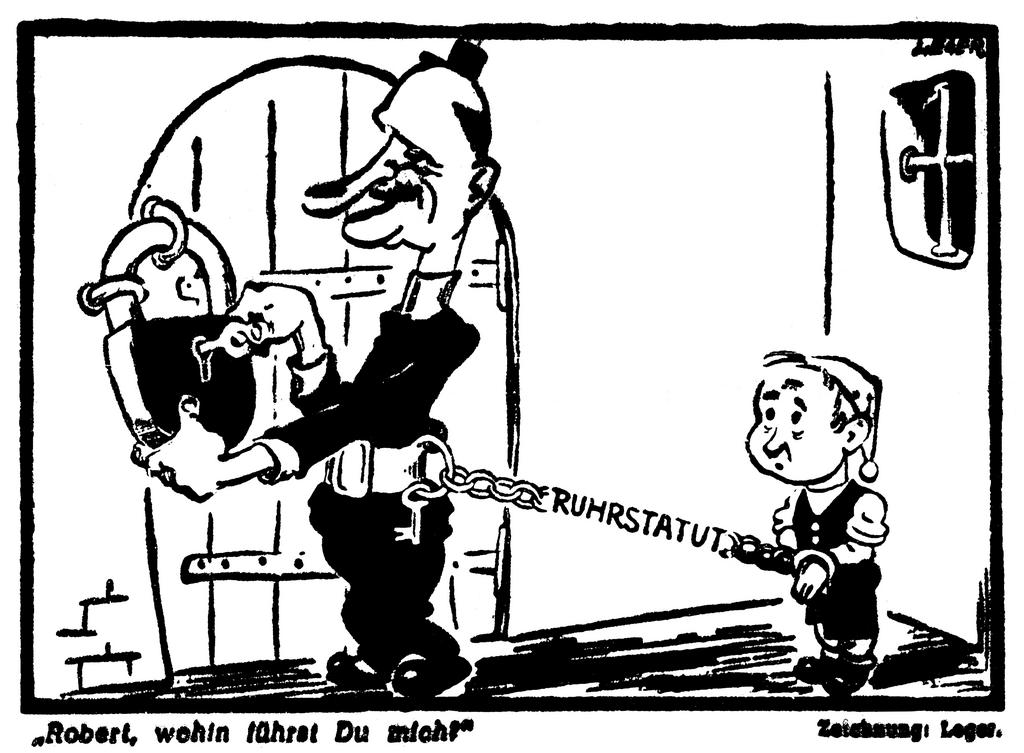 Cartoon by Leger on the Ruhr Statute (23 June 1950)