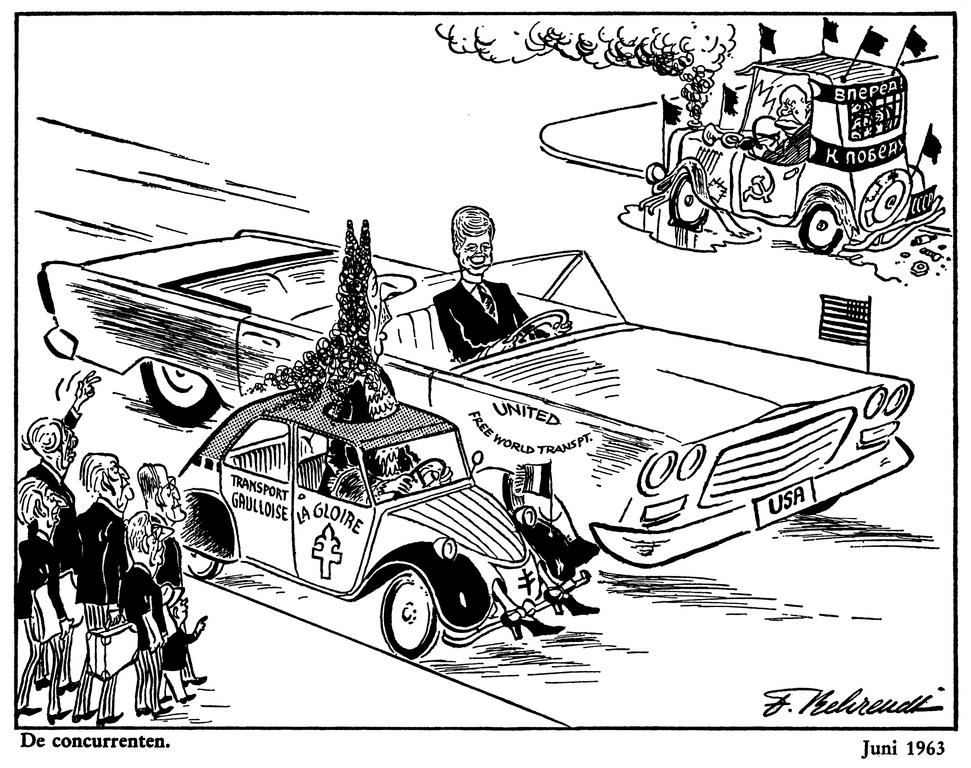 Cartoon by Behrendt on Franco-American relations (June 1963)