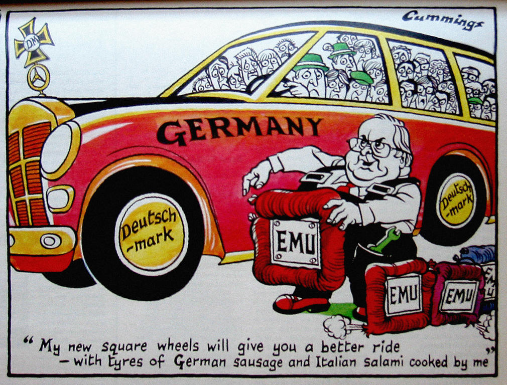 Cartoon by Cummings on Germany and the euro (7 June 1997)