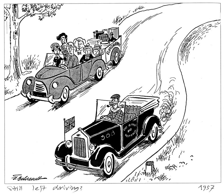 Cartoon by Behrendt on the United Kingdom and the Common Market (1957)