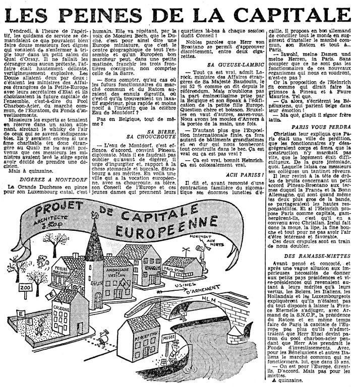 Cartoon by Lap on the future European capital (24 December 1957)