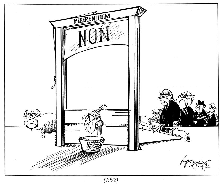 Cartoon By Hanel On The Ratification Of The Treaty Of Maastricht