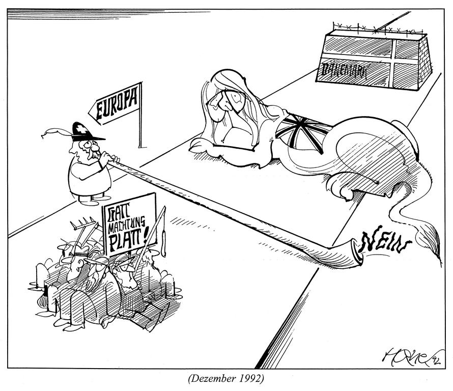 Cartoon by Hanel on the Swiss 'No' to the EEA (December 1992)