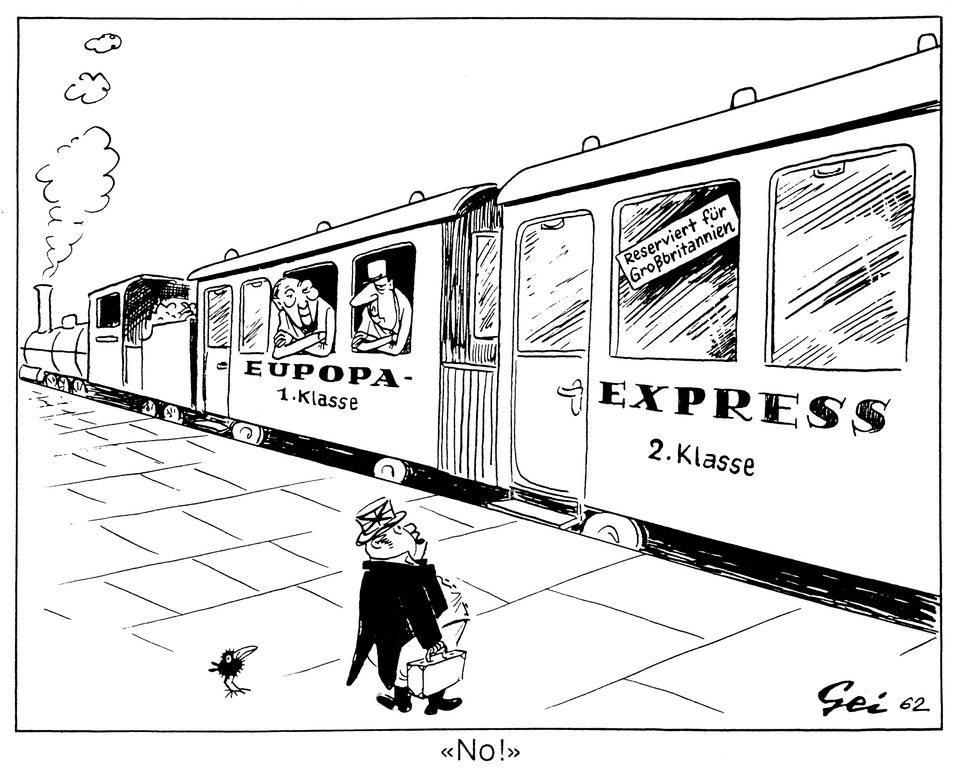 Cartoon by Geisen on Britain's accession to the EEC (1962)
