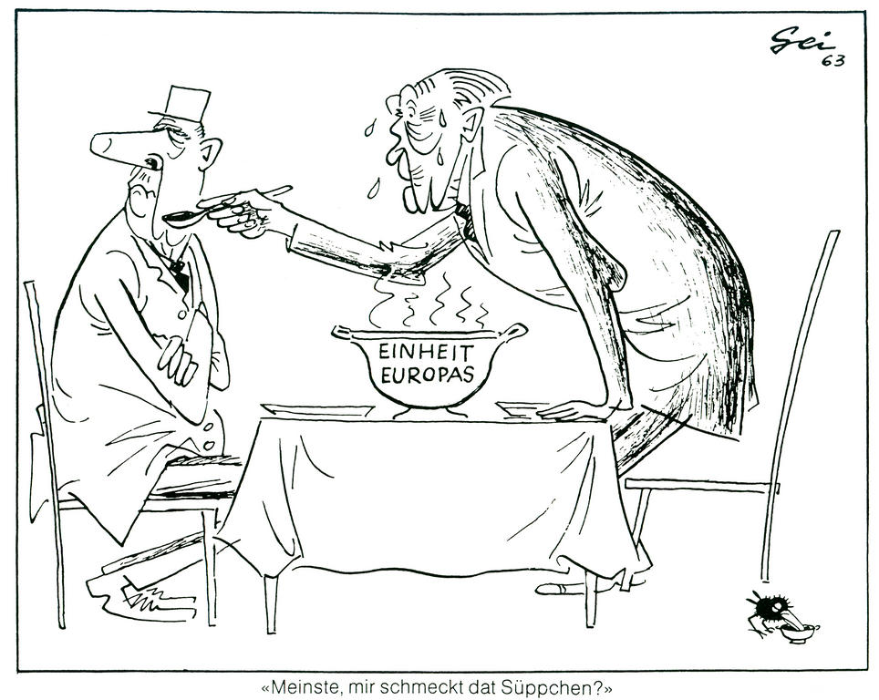 Cartoon by Geisen on the Franco-German situation and European unity (1963)