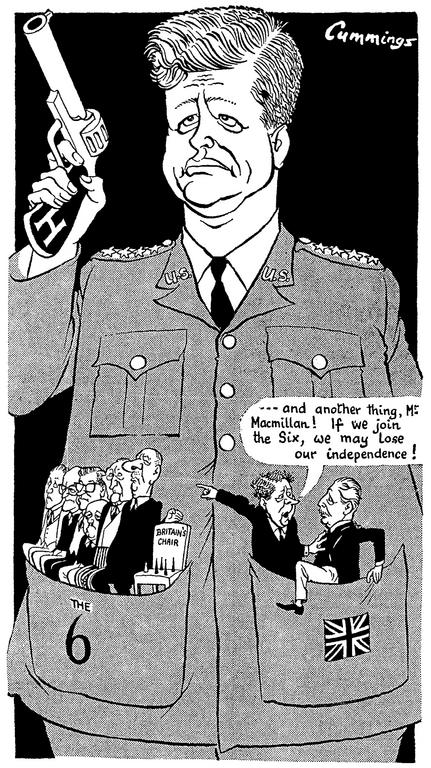 Cartoon by Cummings on the United Kingdom's accession to the European Communities (2 November 1962)