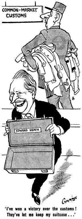 Cartoon by Cummings on the position of Edward Heath during the negotiations with the United Kingdom on accession to the EEC (21 November 1962)