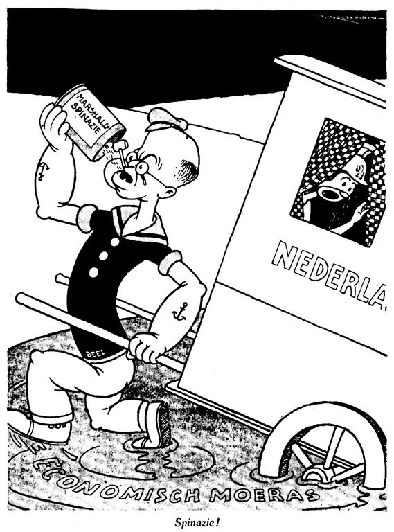 Cartoon on the Netherlands and the Marshall Plan (10 April 1948)