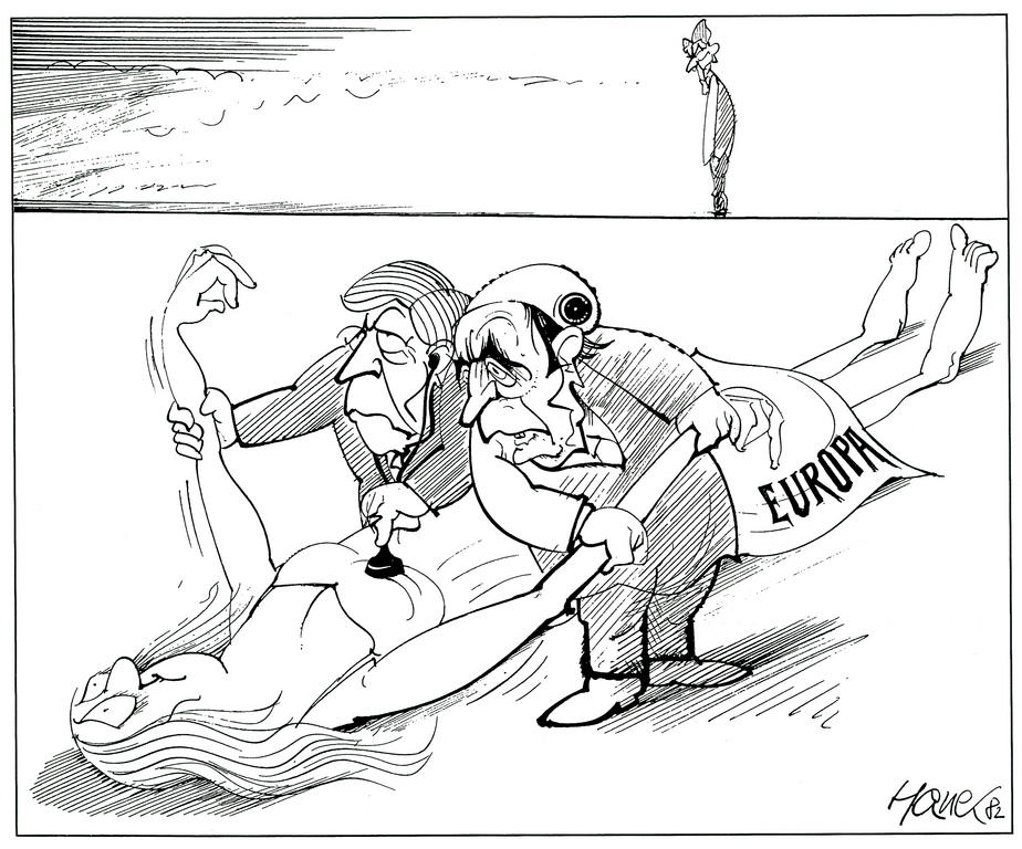 Cartoon by Hanel on the action of the Franco-German duo in European affairs (17 May 1982)