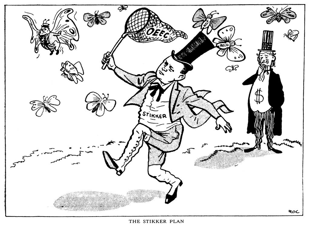 Cartoon by Roc on the role played by Dirk Stikker in the OEEC (11 February 1950)