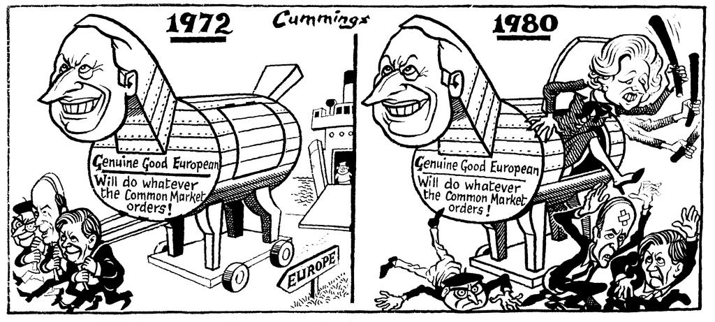 Cartoon by Cummings on the position of the United Kingdom within the European Communities (30 April 1988)