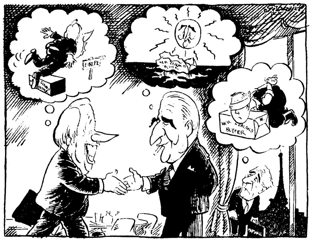 Cartoon by Gibbard on the negotiations on New Zealand butter (18 May 1971)