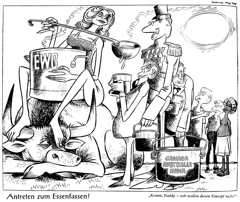 Cartoon by Siegl on British accession to the EEC (25 August 1962)