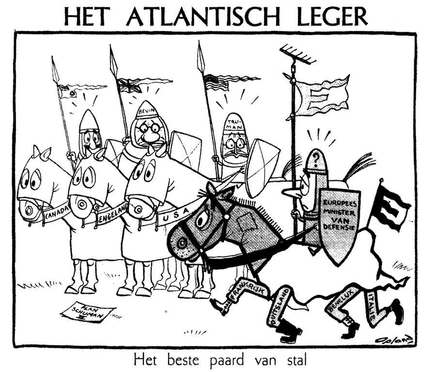 Cartoon by Opland on the Pleven Plan (28 October 1950)