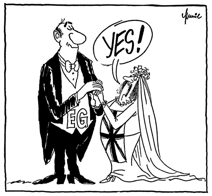 Cartoon by Mussil on the British referendum (June 1975)