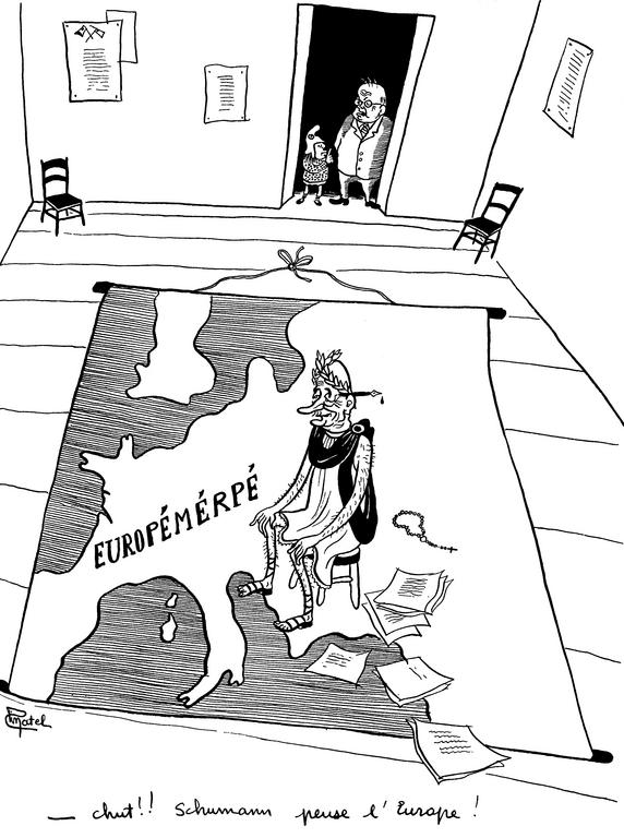 Cartoon by Pinatel on Robert Schuman and European integration (August 1949)