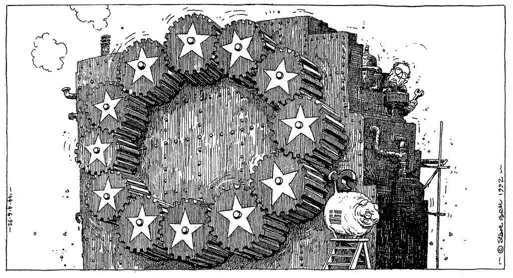 Cartoon by Steve Bell on the Danish referendum for the ratification of the Maastricht Treaty (4 June 1992)