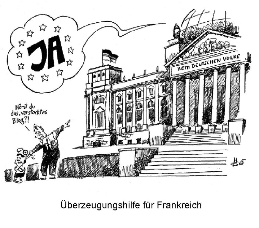 Cartoon by Sakurai on the ratification of the Constitutional Treaty in Germany (12 May 2005)