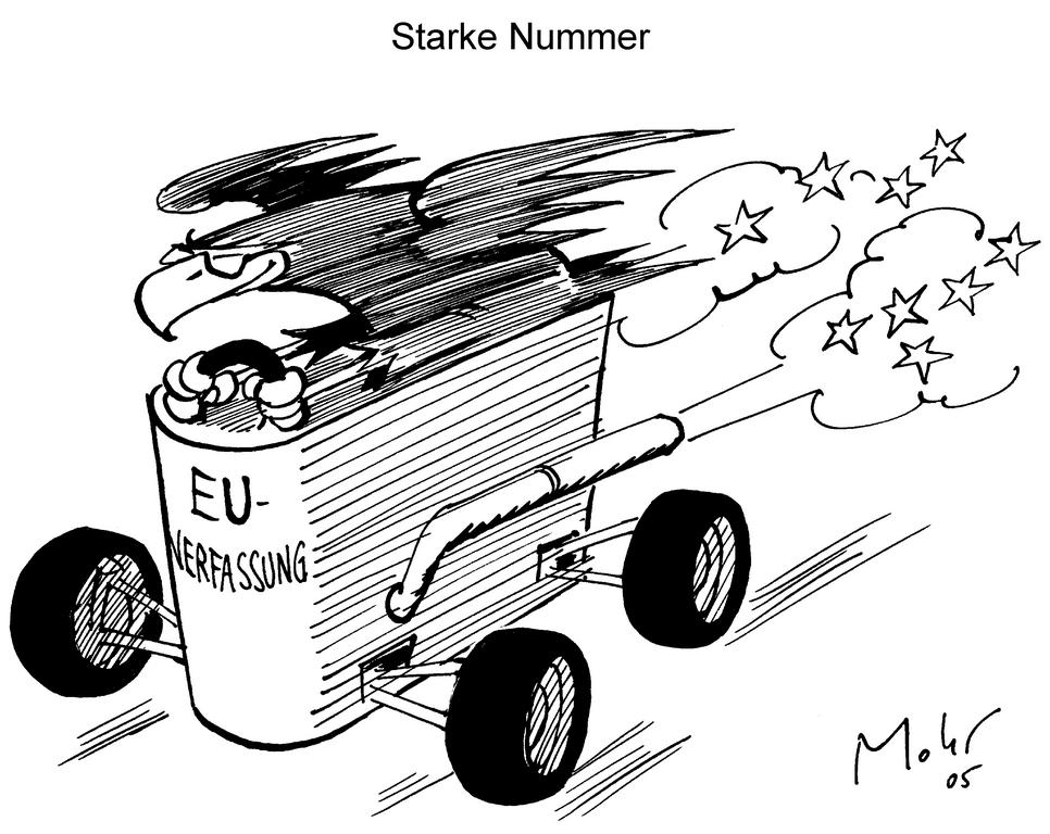 Caricature de Mohr sur la ratification du traité constitutionnel en Allemagne (16 mai 2005)