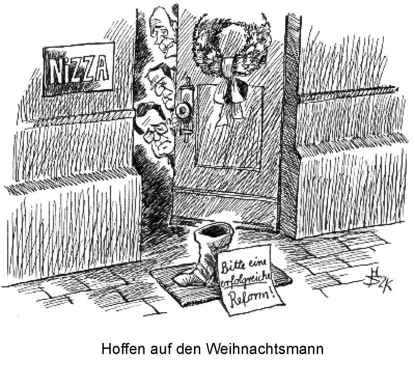 Cartoon by Sakurai on the issues surrounding the Nice European Council (9 December 2000)