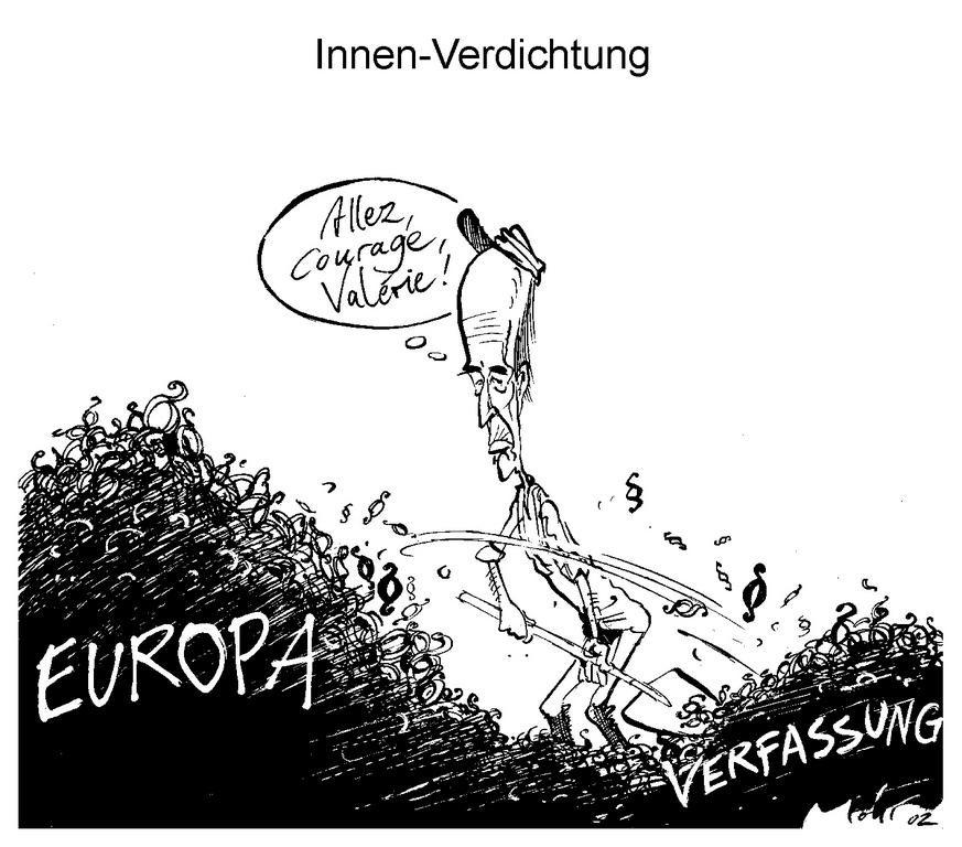 Cartoon by Mohr on the role of Valéry Giscard d'Estaing in the future work of the European Convention (28 February 2002)