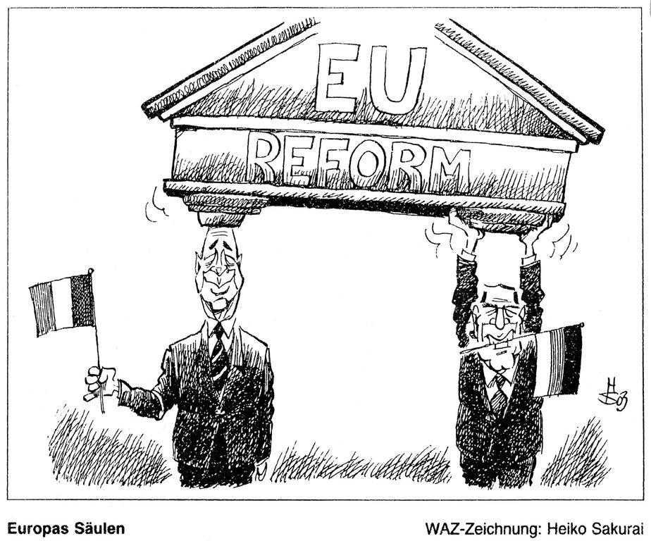 Cartoon by Sakurai on the Franco-German contribution to the European Convention (16 January 2003)