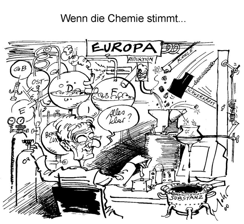 Cartoon by Mohr on the European vision of Joschka Fischer (15 May 2000)