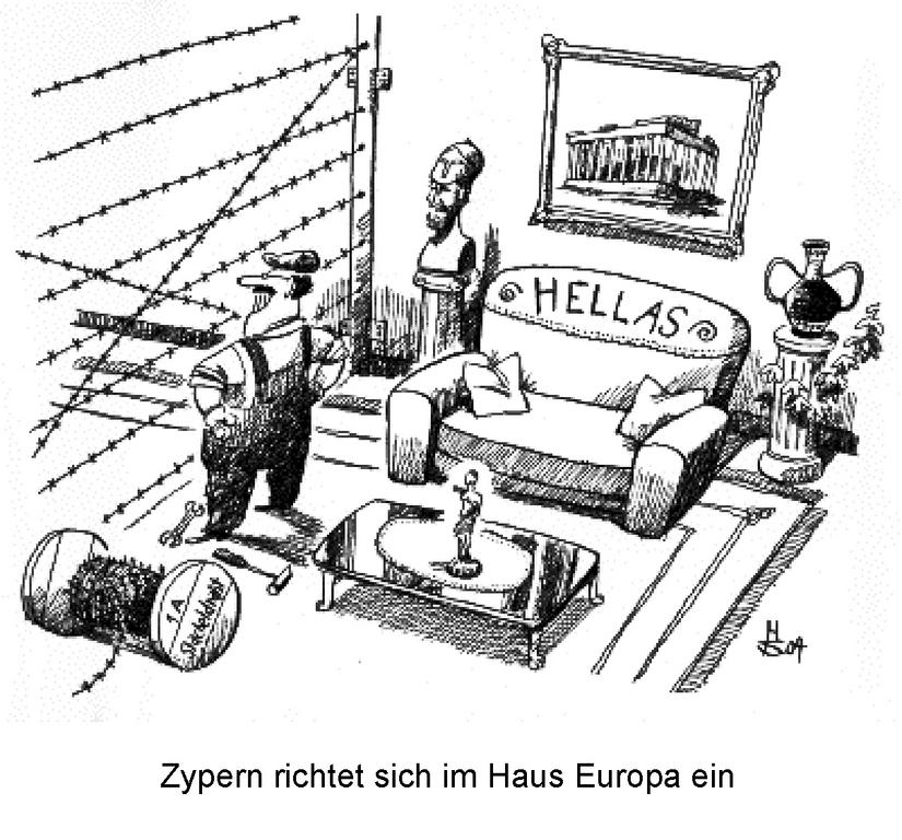Cartoon by Sakurai on the Cyprus question (28 April 2004)