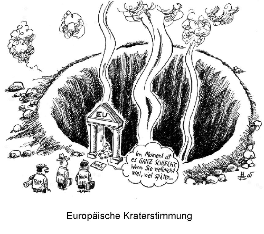 Cartoon by Sakurai on the effects of the failure of the European Constitutional Treaty on the EU enlargement process (7 June 2005)