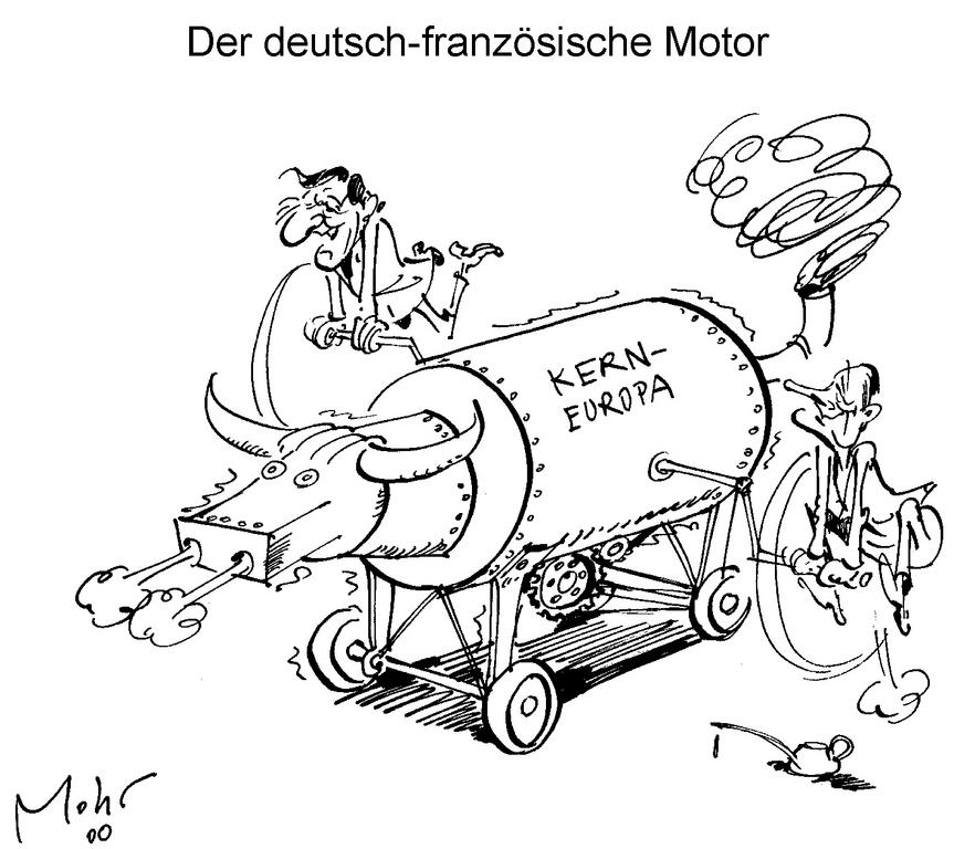 Cartoon by Mohr on the action taken by the Franco-German duo in support of European integration (May–June 2000)