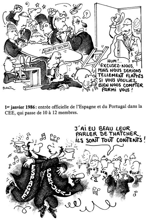 Cartoon by Plantu on the accession of Spain and Portugal to the European Communities (1 January 1986)
