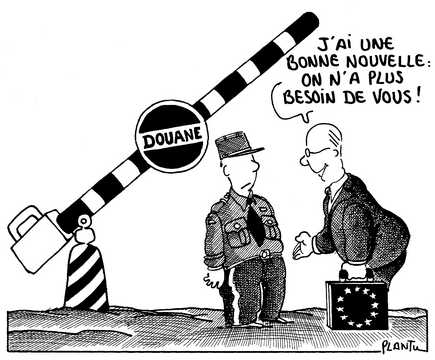 Caricature de Plantu sur la Convention d'application de l'accord de Schengen (Juin 1991)
