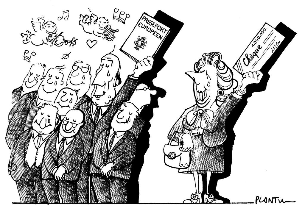 Cartoon by Plantu on the outcome of the Fontainebleau European Council (June 1984)