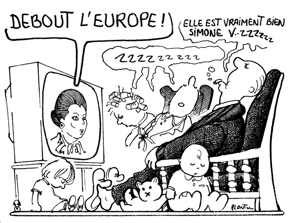Cartoon by Plantu on the election of Simone Veil to the Presidency of the European Parliament (July 1979)