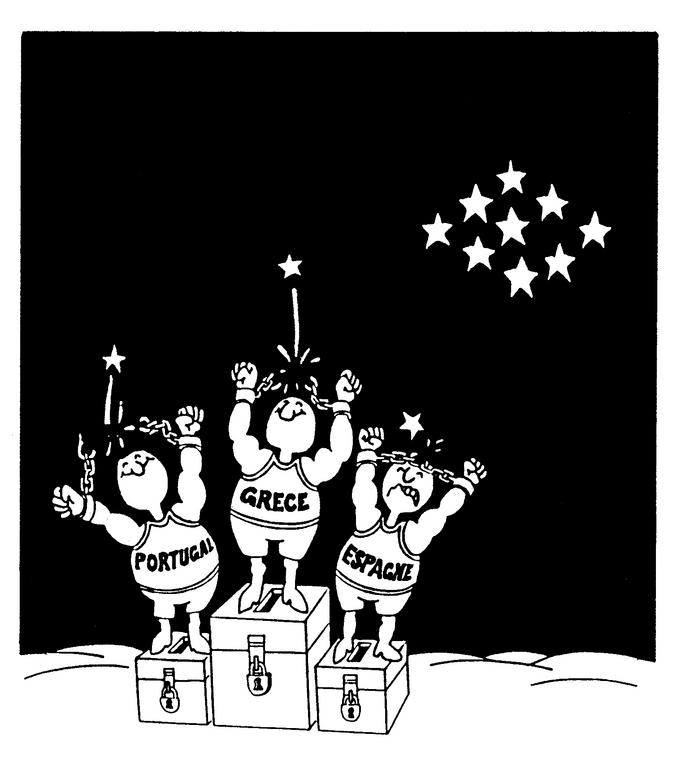 Cartoon by Plantu on the accession of Greece, Spain and Portugal to the European Communities (1977)
