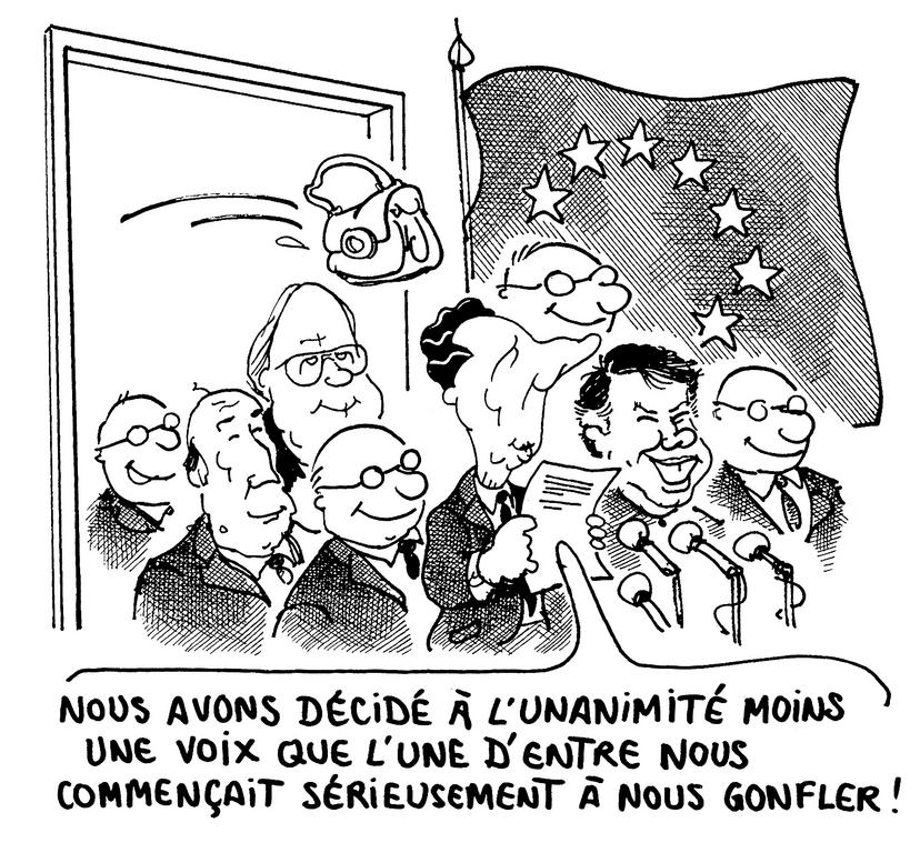 Cartoon by Plantu on the Madrid European Council (June 1989)