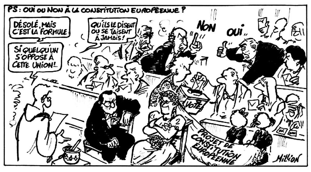 Cartoon by Million on the French Socialist Party and the referendum on the European Constitution (24 November 2004)