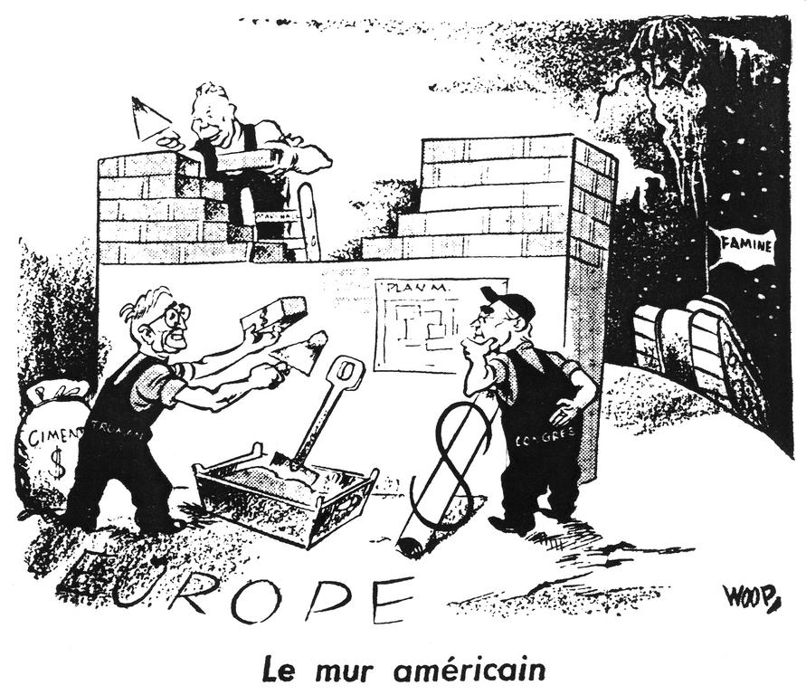 Cartoon by Woop on implementation of the Marshall Plan (4 October 1947)