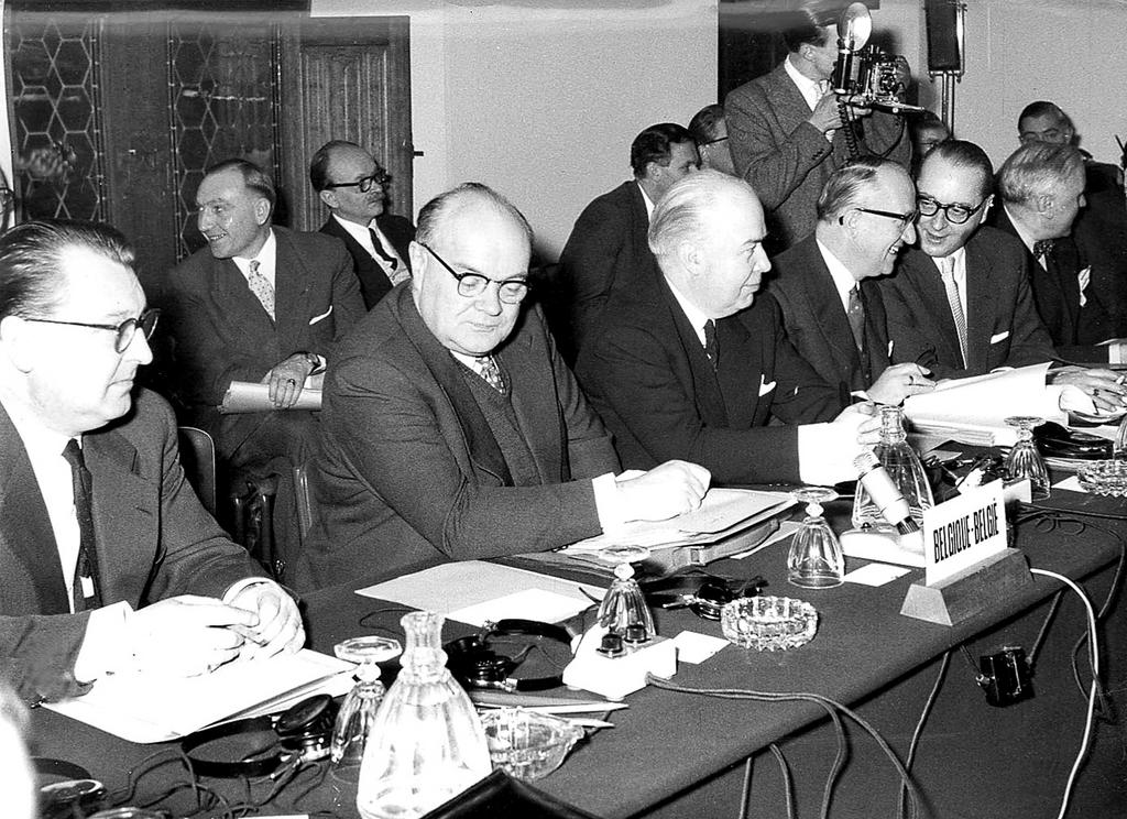 Belgian delegation for the Val Duchesse negotiations (Brussels, 28 January 1957)