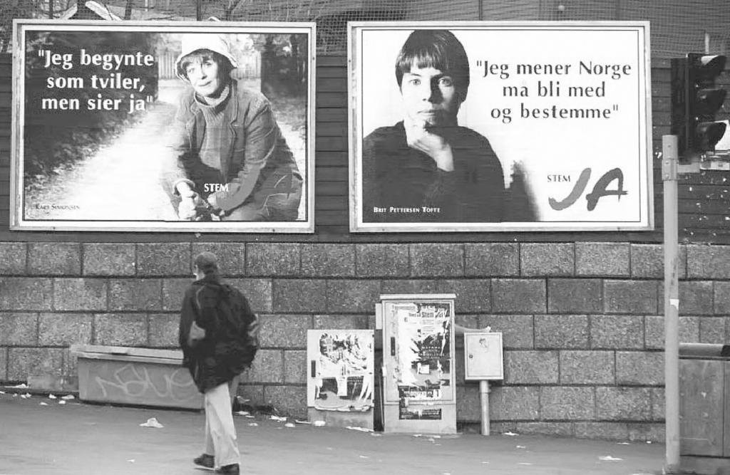Posters supporting the 'Yes' vote in the referendum on Norway's accession to the European Union (Oslo, 22 November 1994)