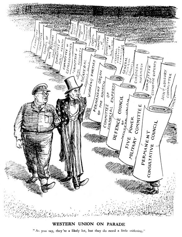 Caricature de Shepard sur les faiblesses de l'Union occidentale (3 novembre 1948)
