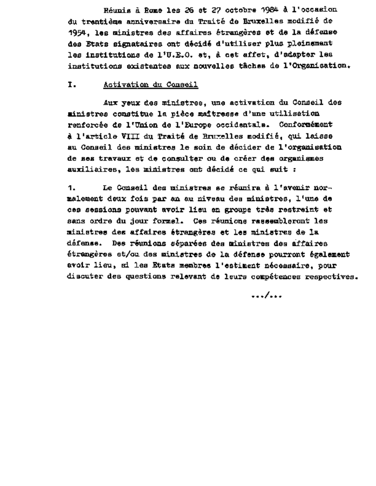 Document sur la réforme institutionnelle de l'UEO (Rome, 27 octobre 1984)
