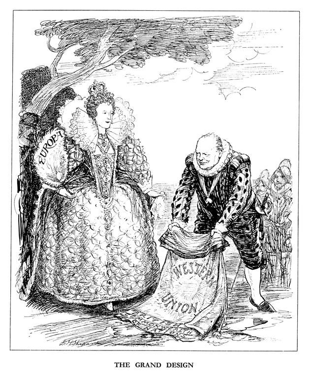 Cartoon by Shepard on the European commitment of Winston Churchill (12 May 1948)